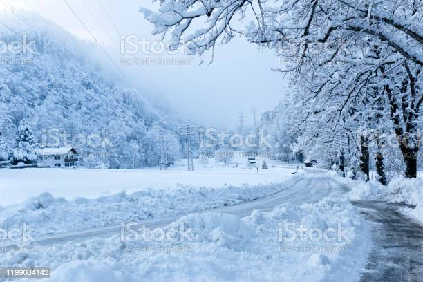 Photo of Snowy country road
