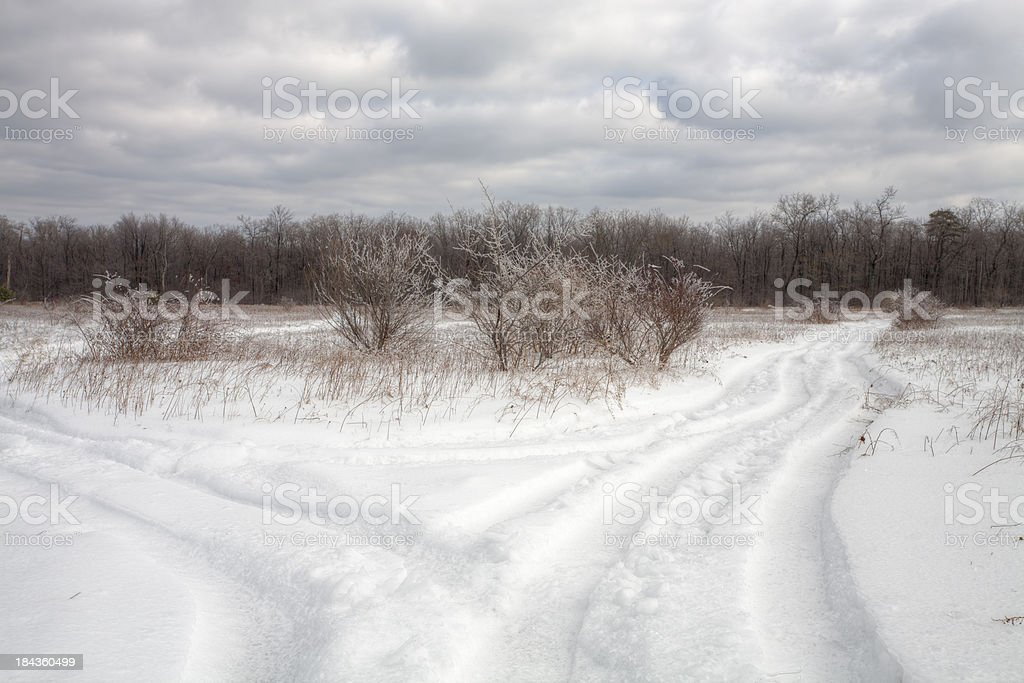 Snowy Country Road royalty-free stock photo