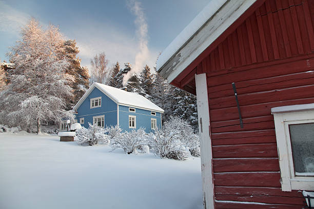 Snowy Courtyard stock photo