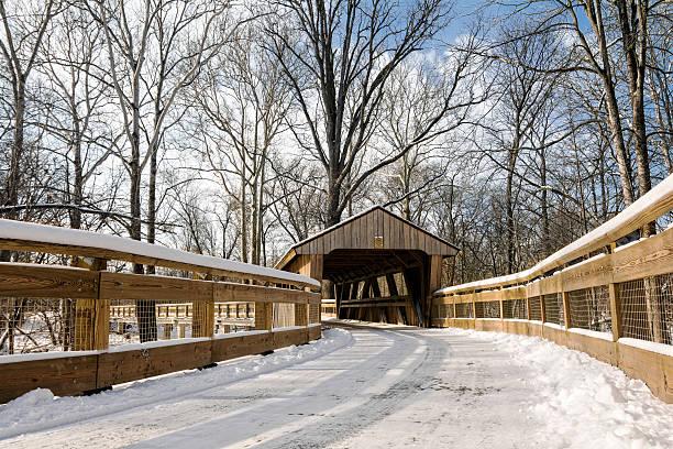 Snowy Covered Bridge Trail stock photo