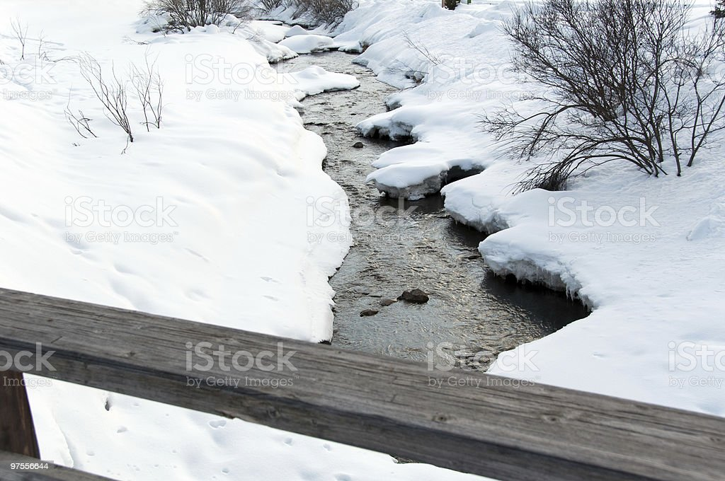 Snowy creek and bridge royalty-free stock photo
