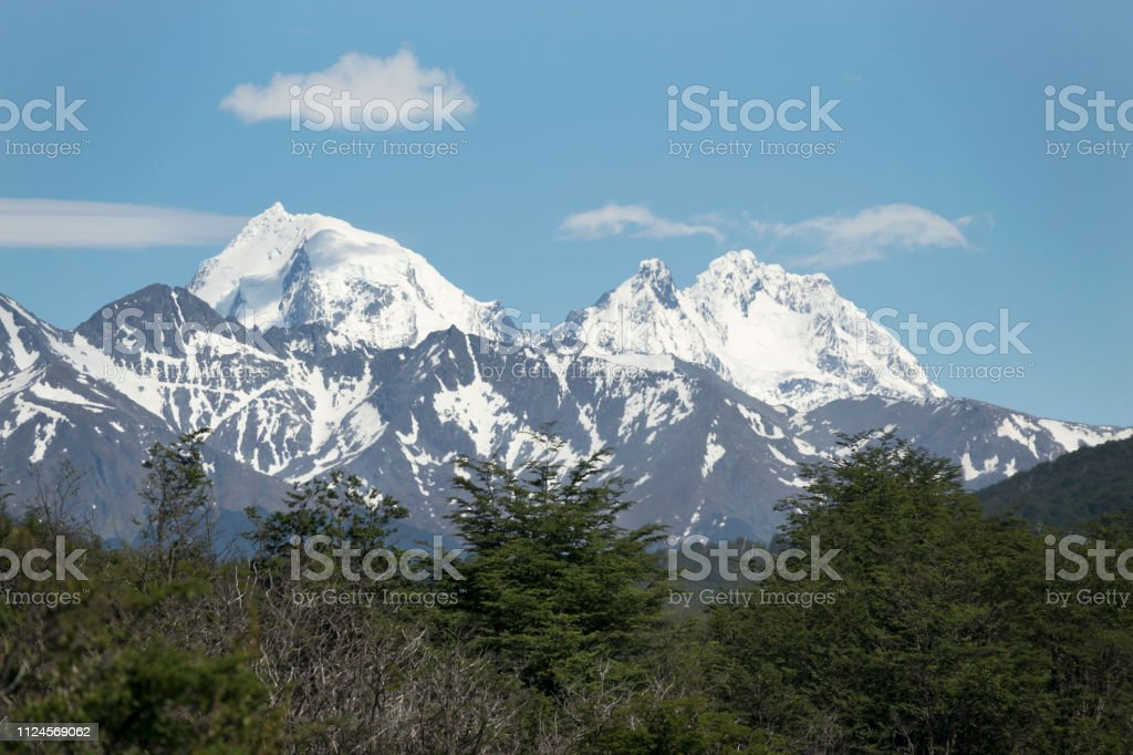 Snowy Darwin Mountains Tierra del fuego subantarctic forest National Park Argentina stock photo