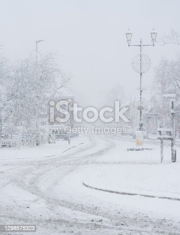 A winter's morning in Beaconsfield Old Town, Buckinghamshire, and a blast of snow blankets the streets.