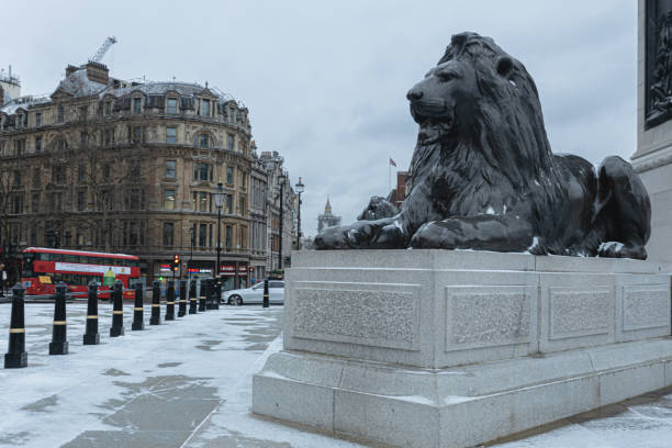 Snowy day in Central London. stock photo