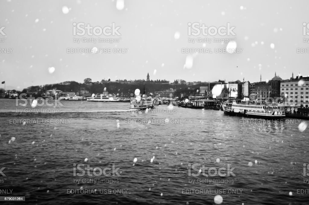 Snowy day in Galata d,str,ct and bosphorus sea in Istanbul, Turkey. March 27, 2011 stock photo