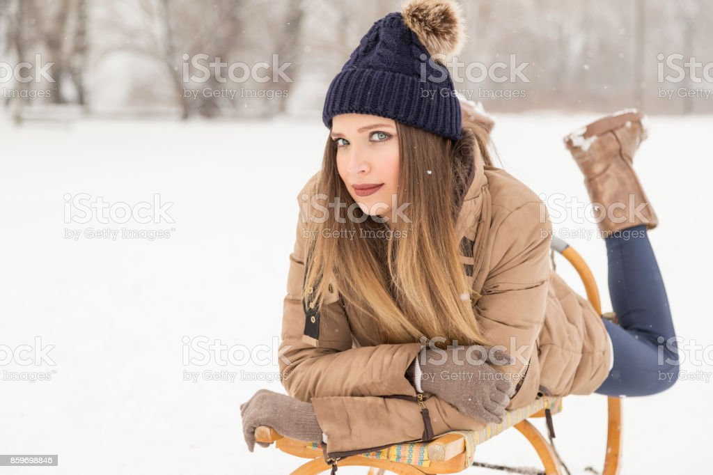 Snowy day in nature stock photo