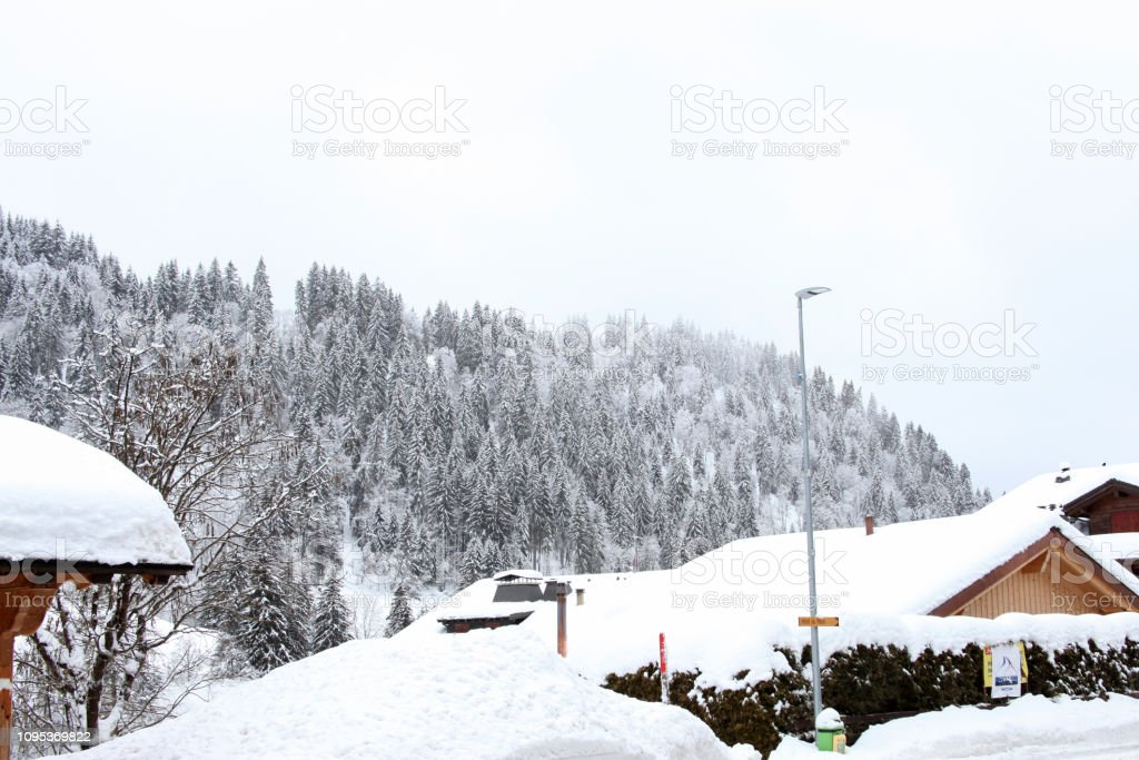 Snowy Day in the Swiss Alps stock photo