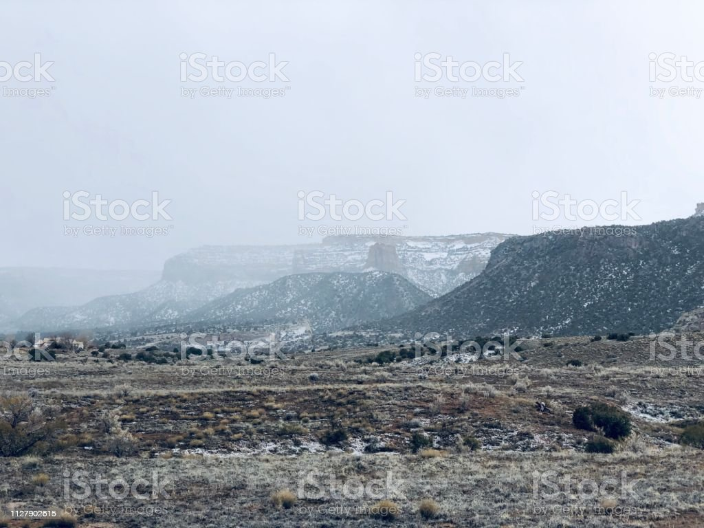 Snowy Day on the Colorado National Monument stock photo