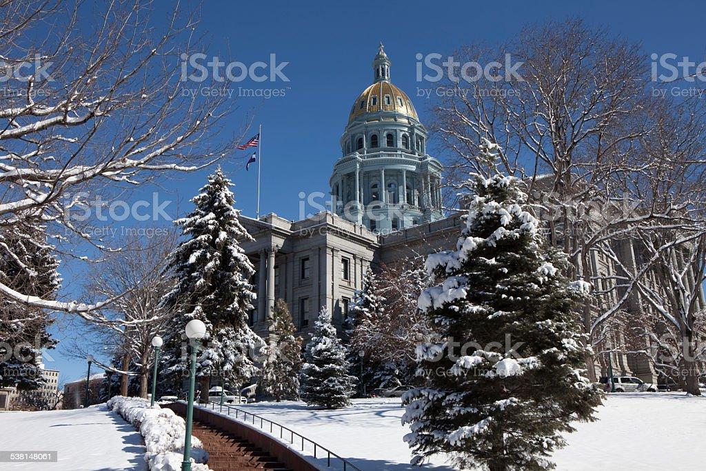 Snowy Denver Colorado State Capitol Building In Winter