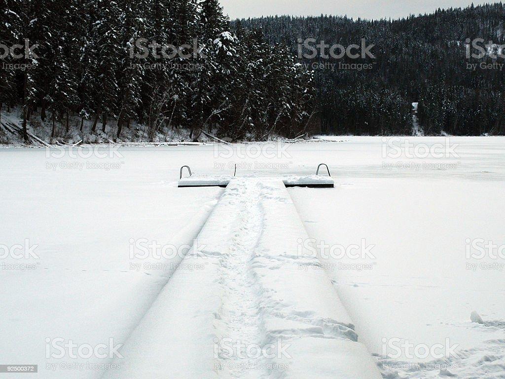 Snowy Dock royalty-free stock photo