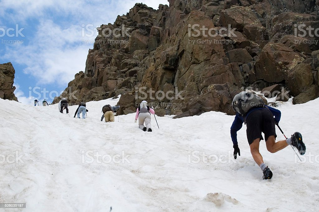 Snowy Downclimb stock photo