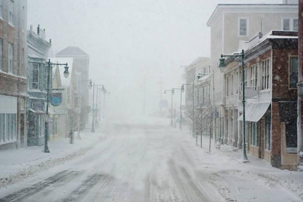 Snowy downtown stock photo