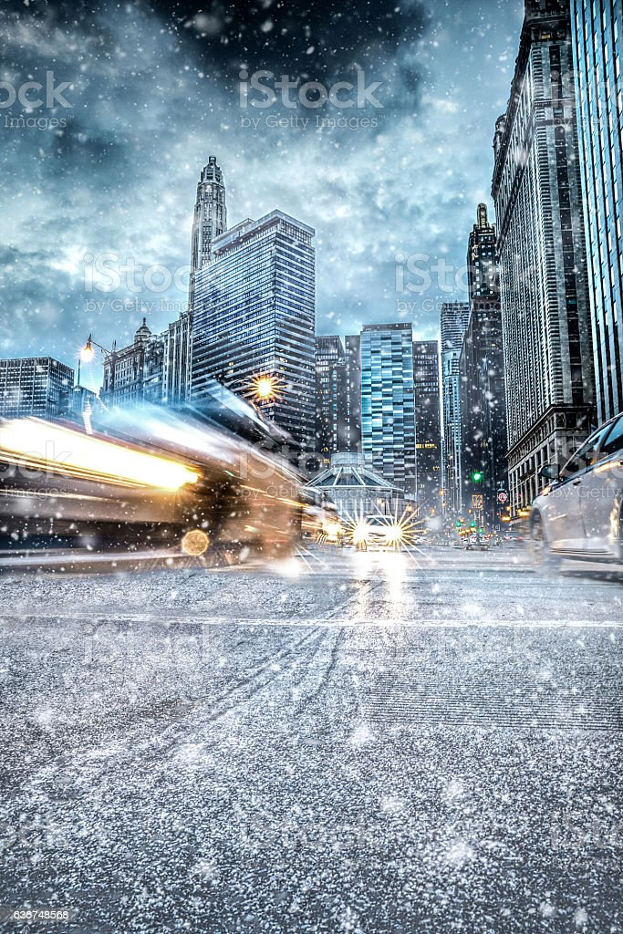 Snowy downtown streets in Chicago stock photo