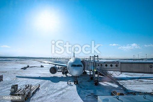 A snowy field airfield