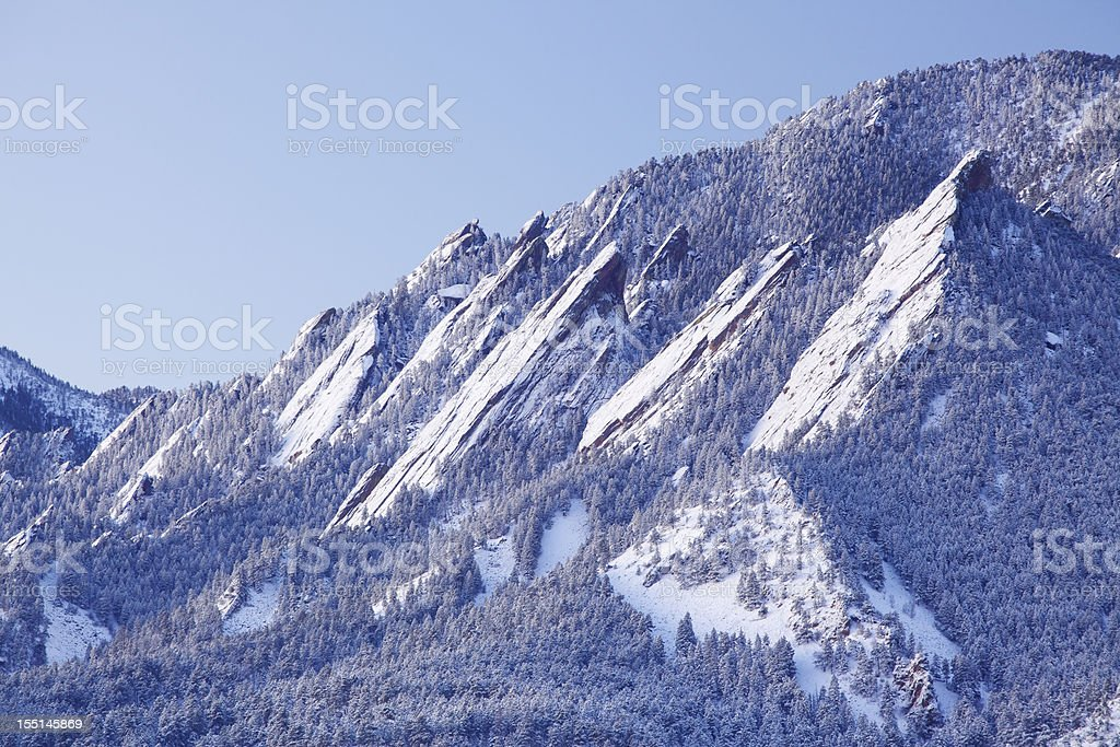 Snowy Flatirons of Boulder Colorado stock photo
