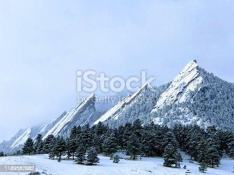 istock Snowy Flatirons 1189582682