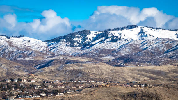 Snowy foothills of Boise, Idaho stock photo