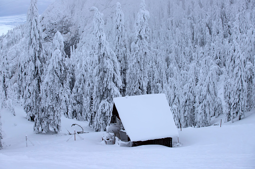 Winter landscape with small cottage in snowy mountains