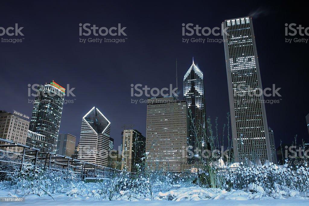 snowy garden against skyline stock photo