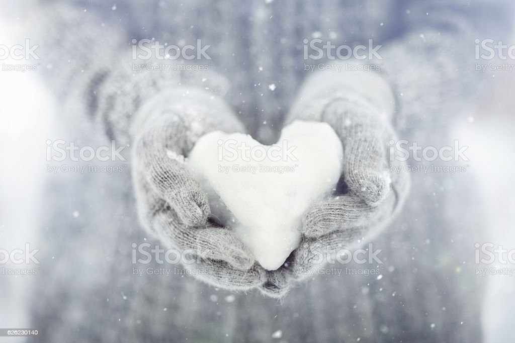 snowy heart stock photo