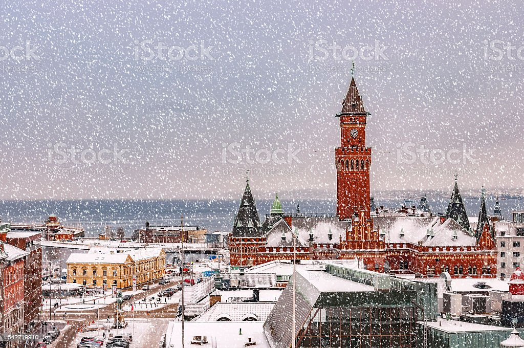 Snowy Helsingborg Skyline stock photo