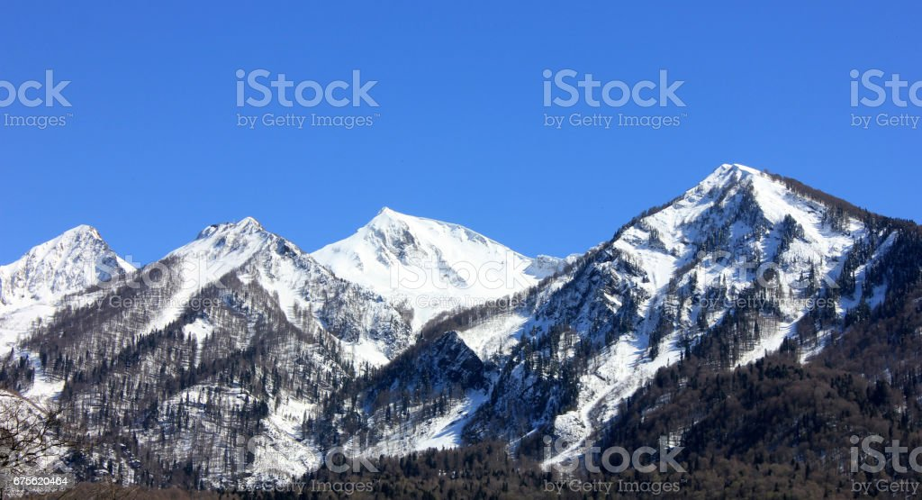Snowy high mountains landscape. royalty-free stock photo