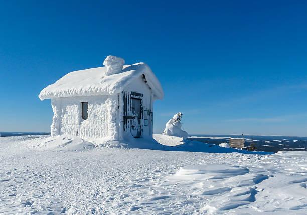 Snowy house stock photo