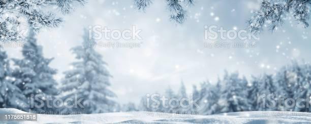 Photo of snowy idyllic winter landscape panorama