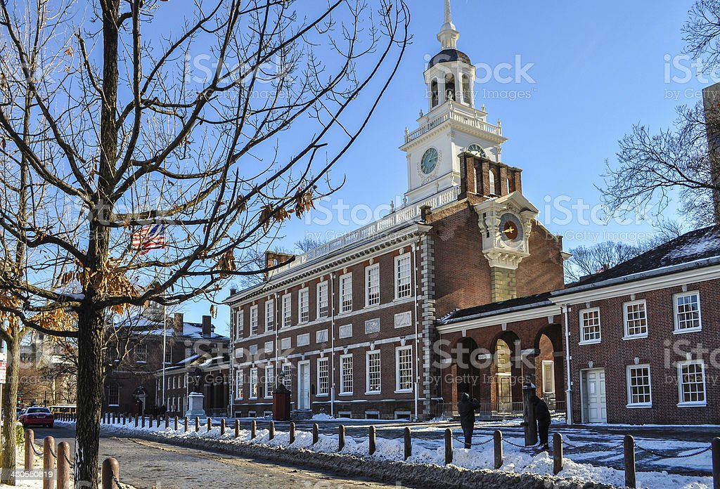 Snowy Independence Hall stock photo