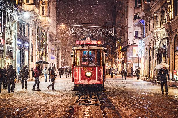 snowy istiklal - istiklal avenue bildbanksfoton och bilder