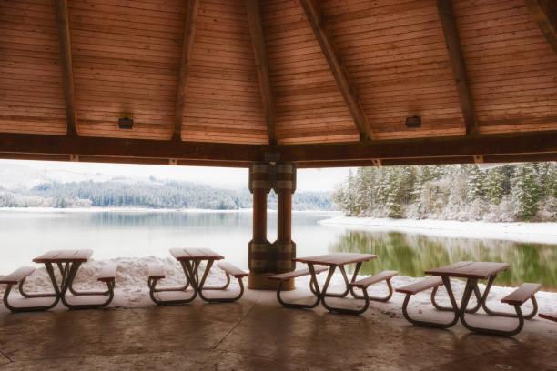 blick auf den verschneiten see unter pavillon - picknick tisch kühler stock-fotos und bilder