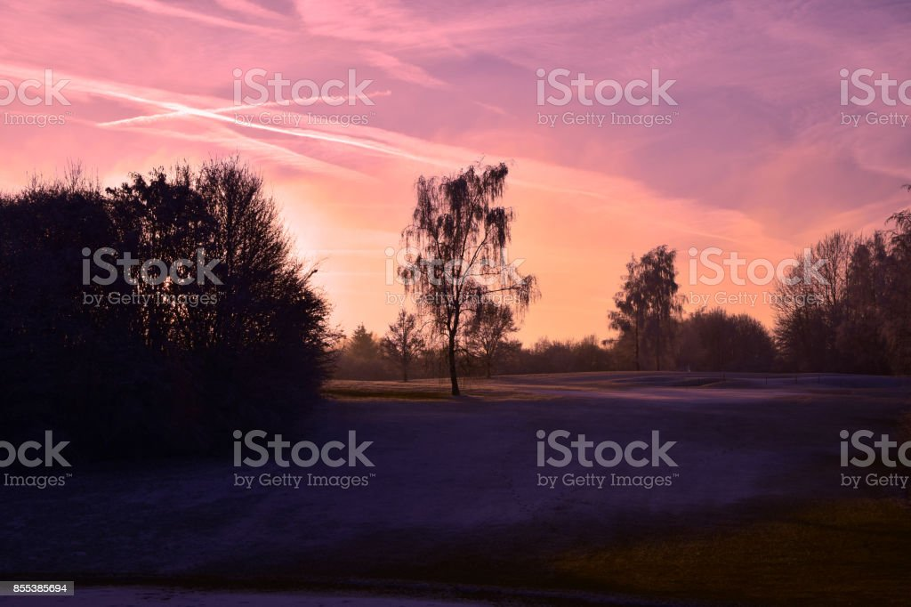 Schneelandschaft Im Sonnenuntergang Stock Photo More Pictures Of