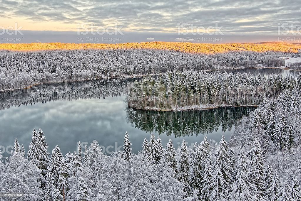 Snowy landscape in Finland stock photo
