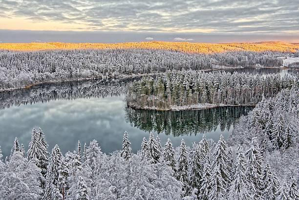 Snowy landscape in Finland stock photo