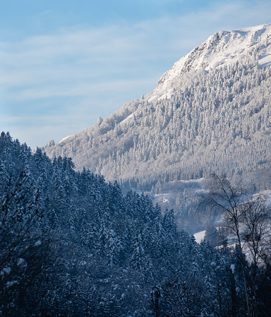 One of the peaks of the Sancy massif completely snow-covered