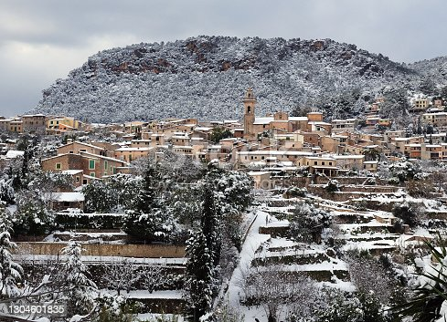 istock Snowy Landscape In Valldemossa With Tramuntana Mountains In The Background On Balearic Island Mallorca 1304601835
