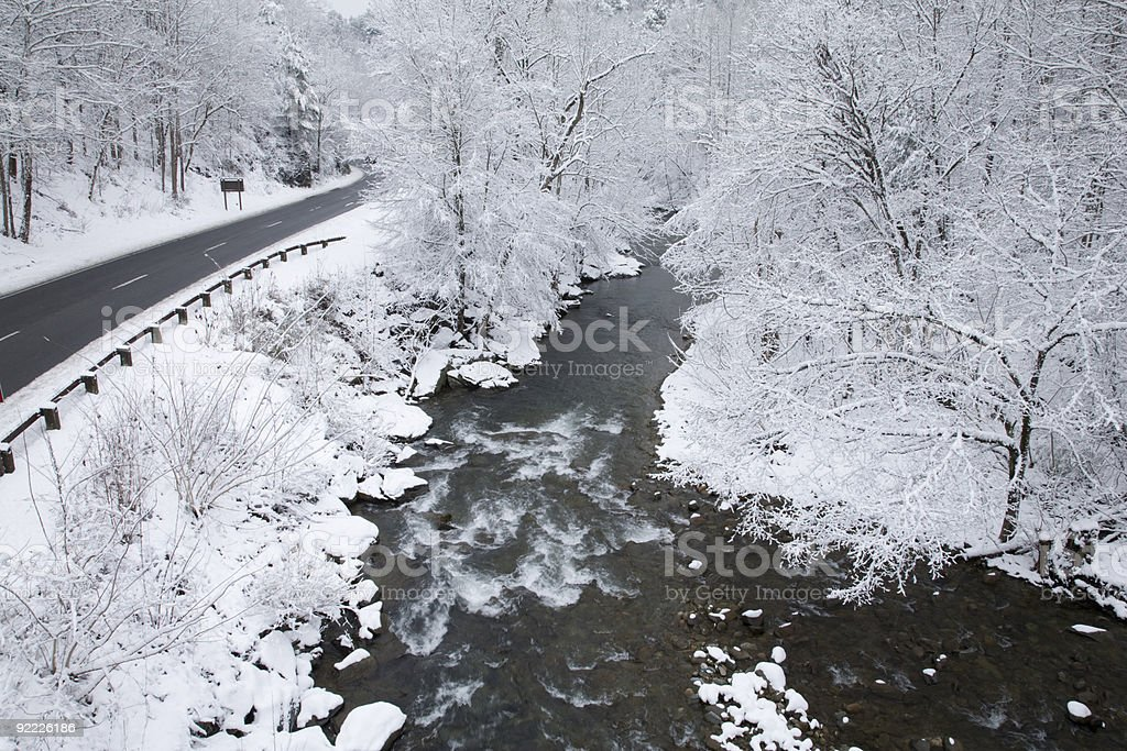 Snowy Landscape, Little Pigeon River stock photo