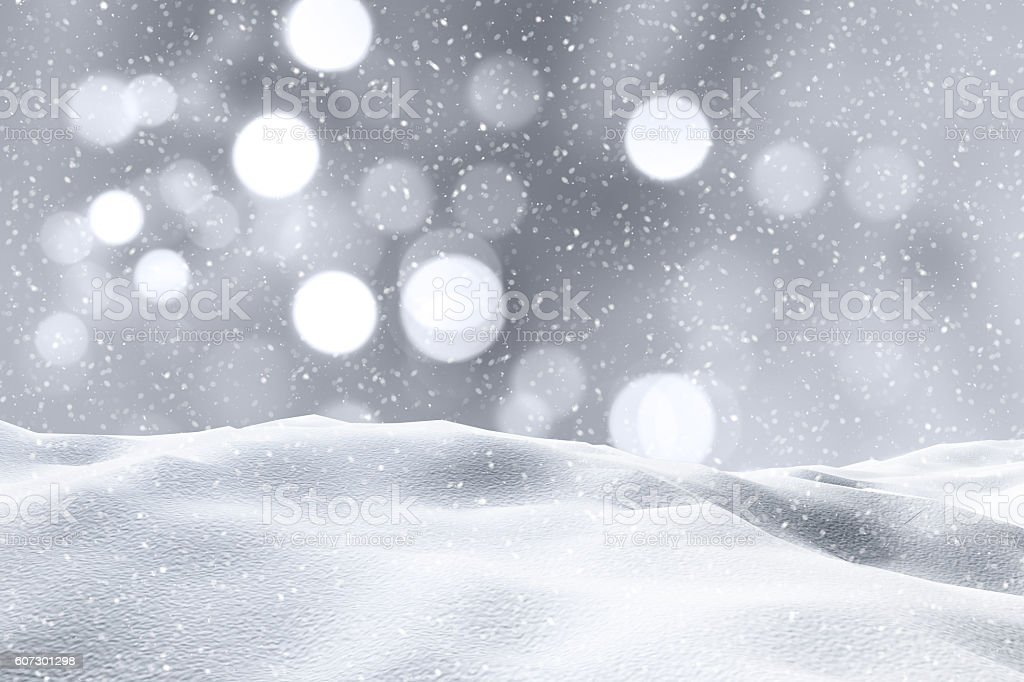 3D snowy landscape stock photo