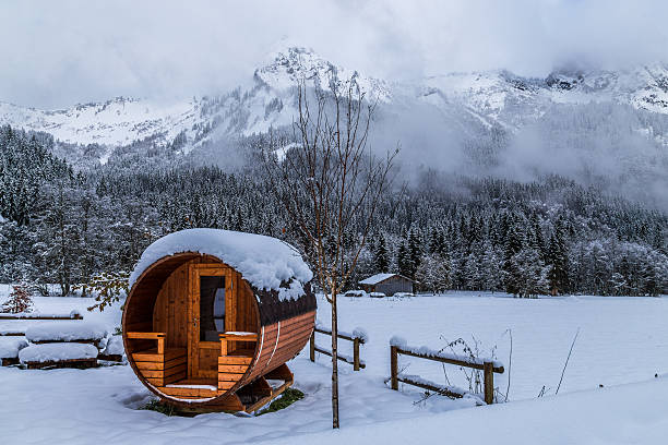 Snowy landscape Sauna in a snowy landscape sauna stock pictures, royalty-free photos & images