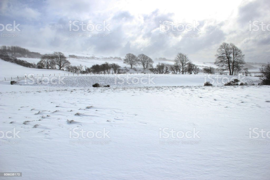 Bright sky over a snow covered field on the Isle of Bute, Scotland.