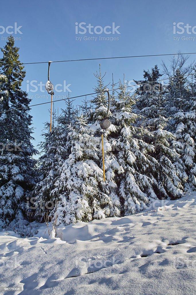 스노이 풍경, 스키 리프트 royalty-free 스톡 사진