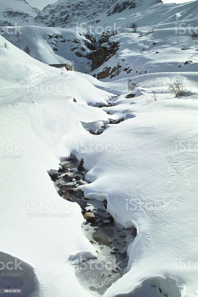 snowy landscape with small river royalty-free stock photo