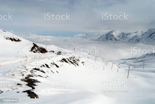 Photo of Snowy landscapes background. Hakkari, Turkey.