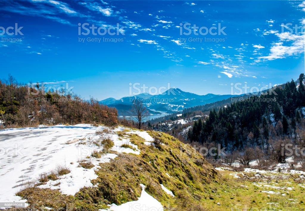 Snowy landscapes. The Lake Plastira on winter. Greece stock photo