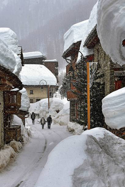 A snowy lane in the French Alpes stock photo