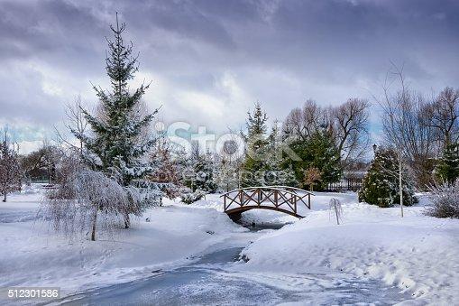 Snowy, wooden bridge over frozen pond. Poland.