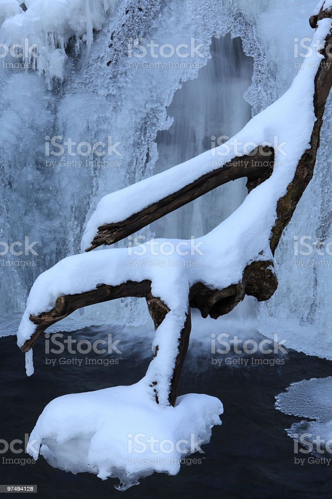 Snowy Log Frozen Canyon Waterfall royalty-free stock photo