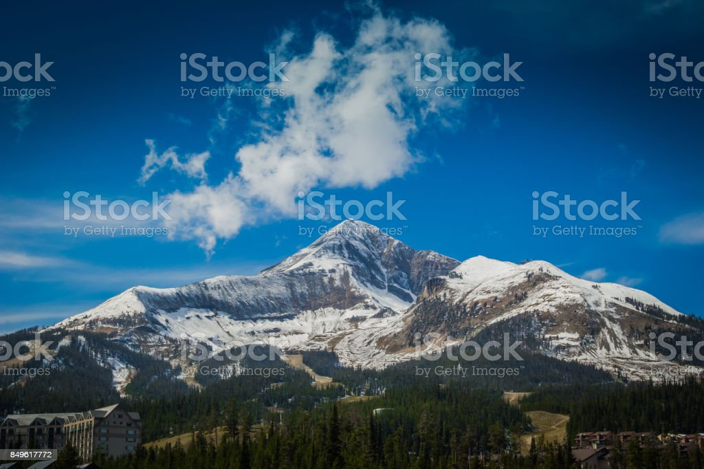 Snowy Lone Peak Wide stock photo