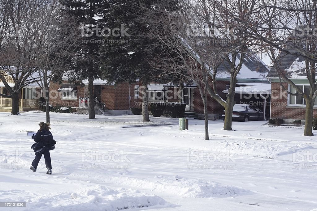 Snowy Mail Delivery royalty-free stock photo