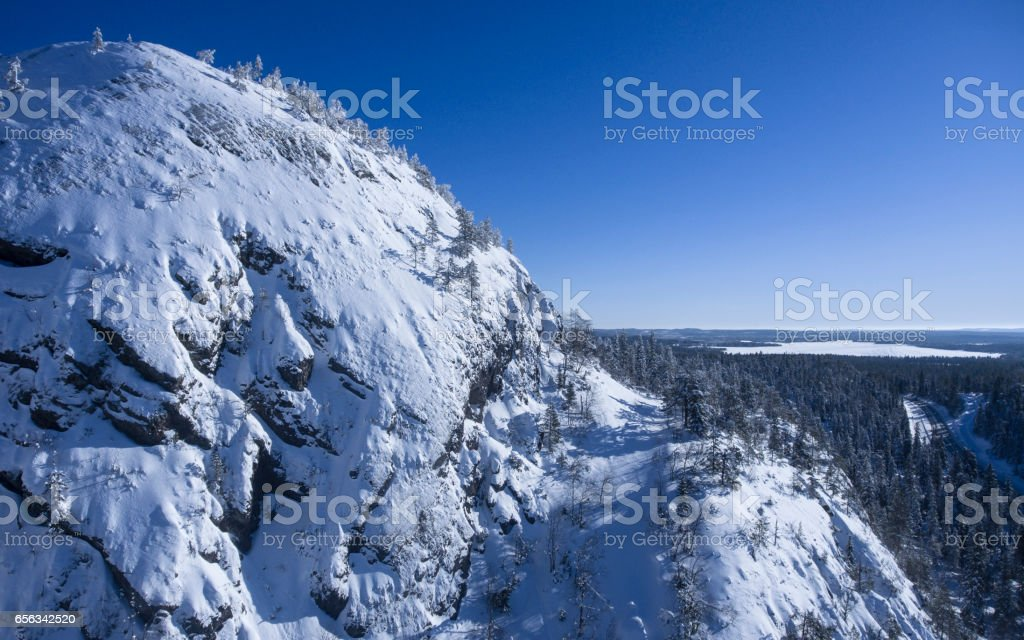 Snowy mountain close-up stock photo